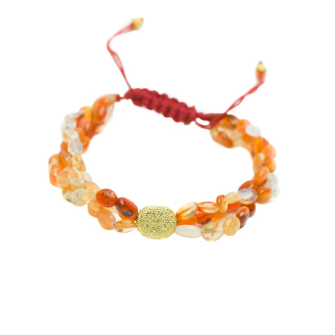 MEXICAN FIRE OPAL & 20K GOLD LUCK BRACELET
