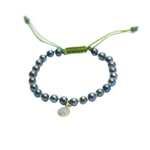 FRESH WATER PEARL & PAVE DIAMOND LUCK BRACELET