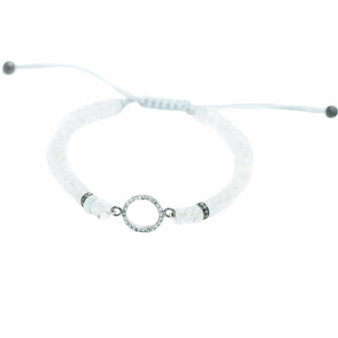 MOONSTONE LUCK BRACELET WITH PAVE DIAMOND HALO