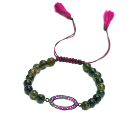 GREEN TOURMALINE & RUBY LUCK BRACELET WITH FUCHSIA TASSEL