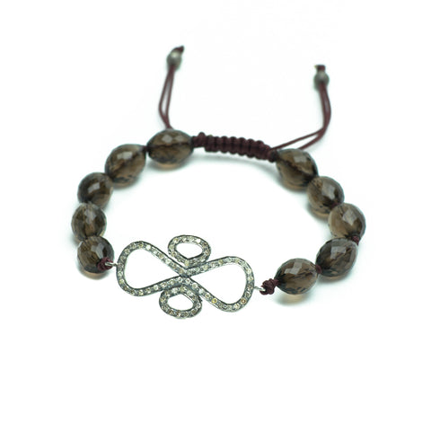 SMOKY QUARTZ & PAVE DIAMOND DECO LUCK BRACELET