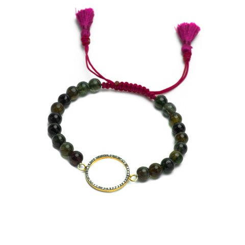 GREEN TOURMALINE & PAVE DIAMOND HALO LUCK BRACELET WITH FUCHSIA TASSEL