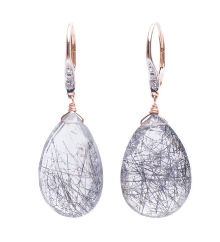 RUTILATED QUARTZ DROPS ON 14K YELLOW GOLD HUGGIES WITH DIAMONDS