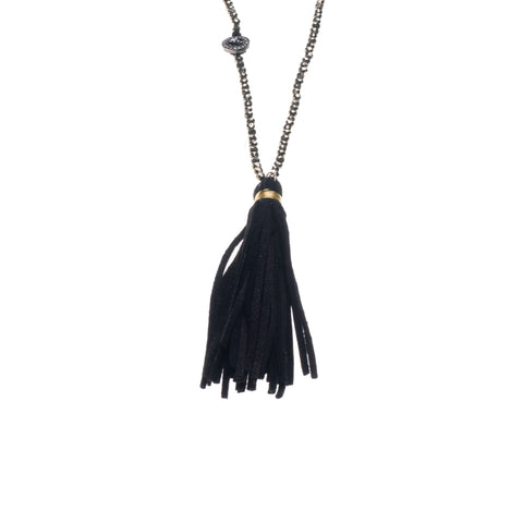 PYRITE & SUEDE TASSEL NECKLACE