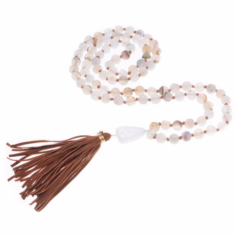 WHITE DRUZY AGATE & CHALCEDONY TASSEL NECKLACE