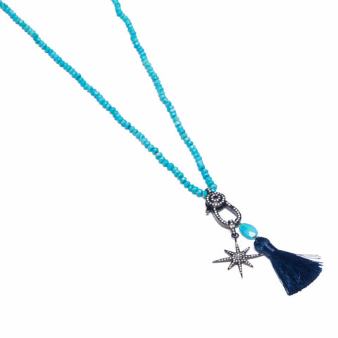 TURQUOISE & TOPAZ STARBURST NECKLACE