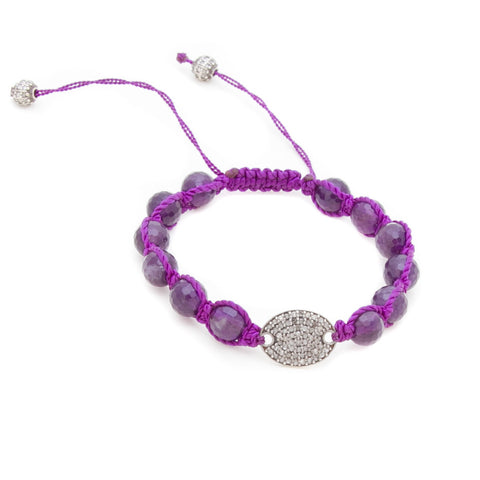 AMETHYST & PAVE DIAMOND DISC FRIENDSHIP BRACELET
