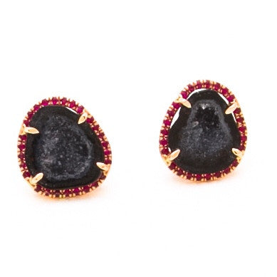 BLACK GEODE & RUBY STUDS IN 14K ROSE GOLD