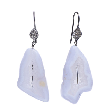 CHALCEDONY GEODE & PAVE DIAMOND EARRINGS