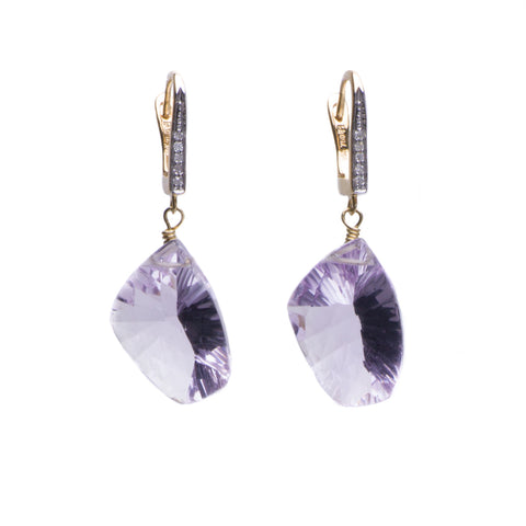 AMETHYST & 18K YELLOW GOLD PAVE DIAMOND EARRINGS