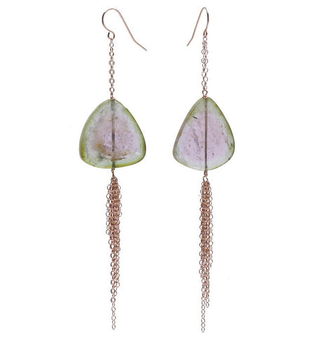 WATERMELON TOURMALINE SLICE FRINGED EARRINGS