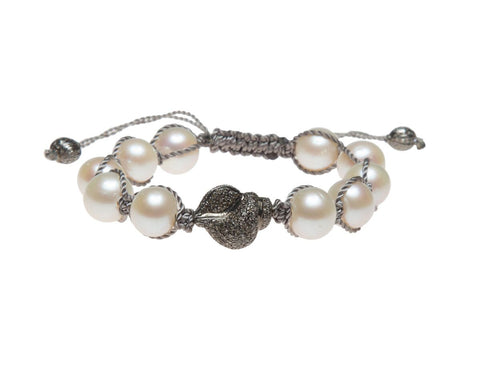 PEARL & PAVE DIAMOND SHELL BRACELET