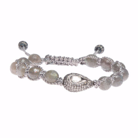 LABRADORITE & ROSE CUT DIAMOND FRIENDSHIP BRACELET