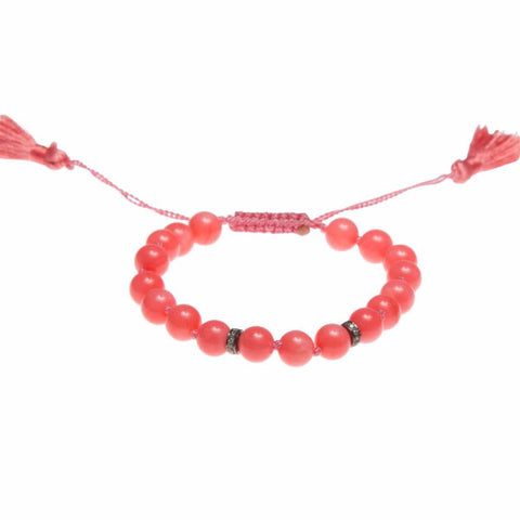 CORAL & DIAMOND LUCK BRACELET WITH SILKY TASSEL