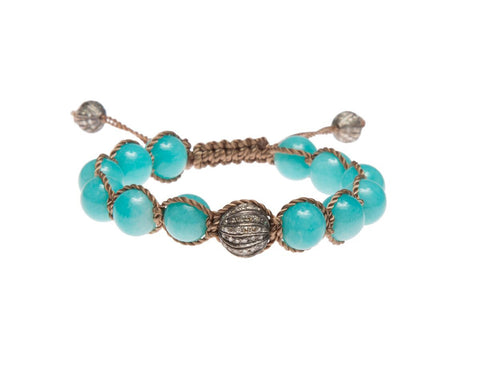 BLUE OPAL & PAVE DIAMOND FRIENDSHIP BRACELET