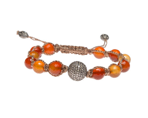 CARNELIAN & PAVE DIAMOND FRIENDSHIP BRACELET