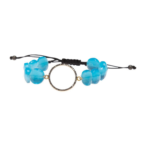 BLUE OPAL & DIAMOND HALO LUCK BRACELET