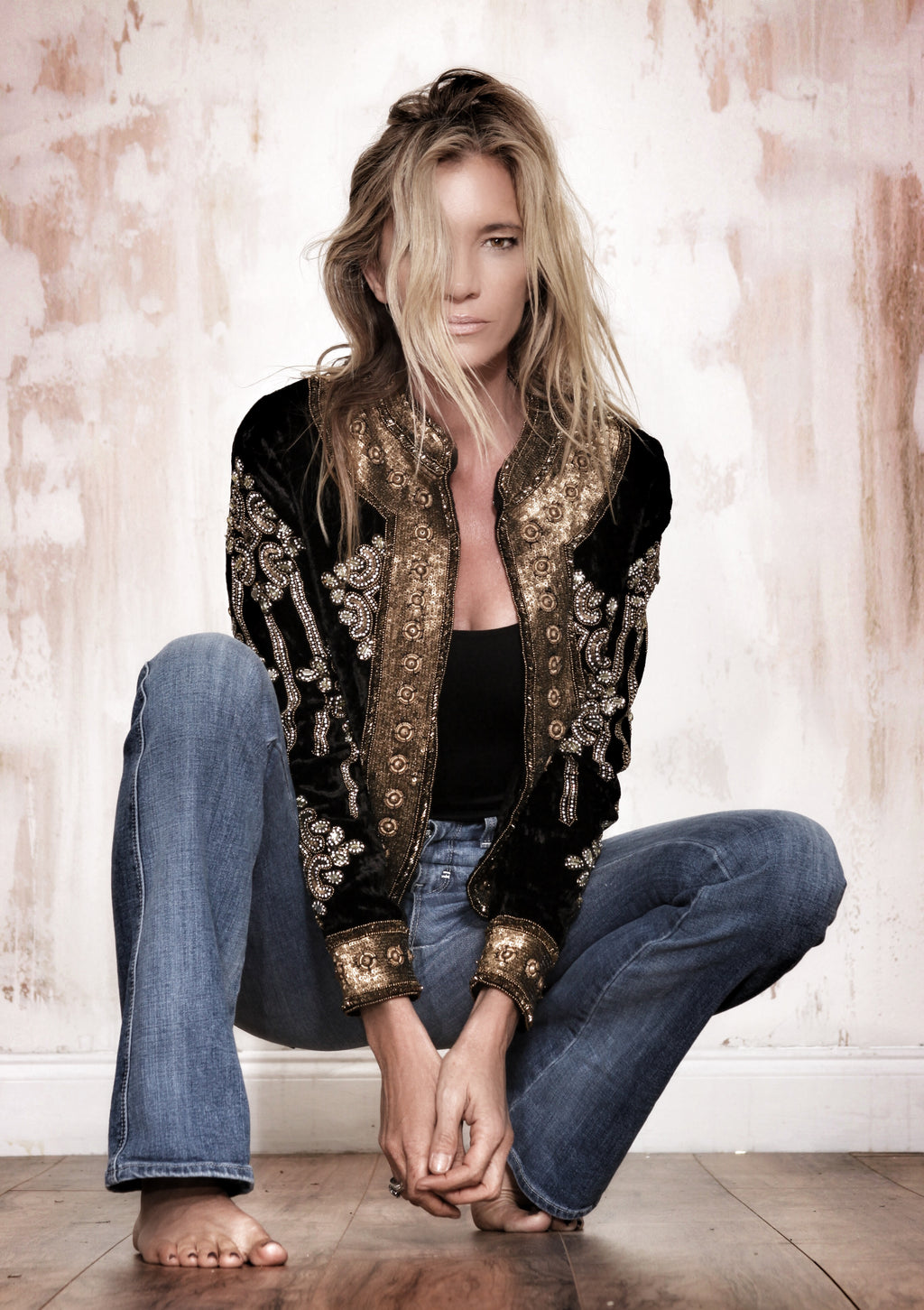 Gisele Black Velvet Beaded Jacket - Ramona LaRue