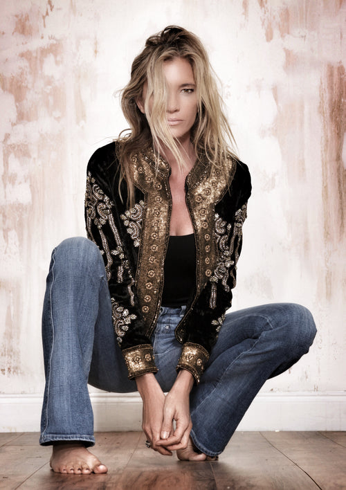 Gisele Black Velvet Beaded Jacket