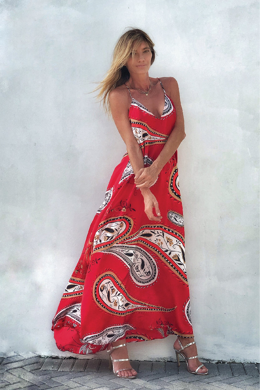 Tara Dress Red Paisley - Ramona LaRue