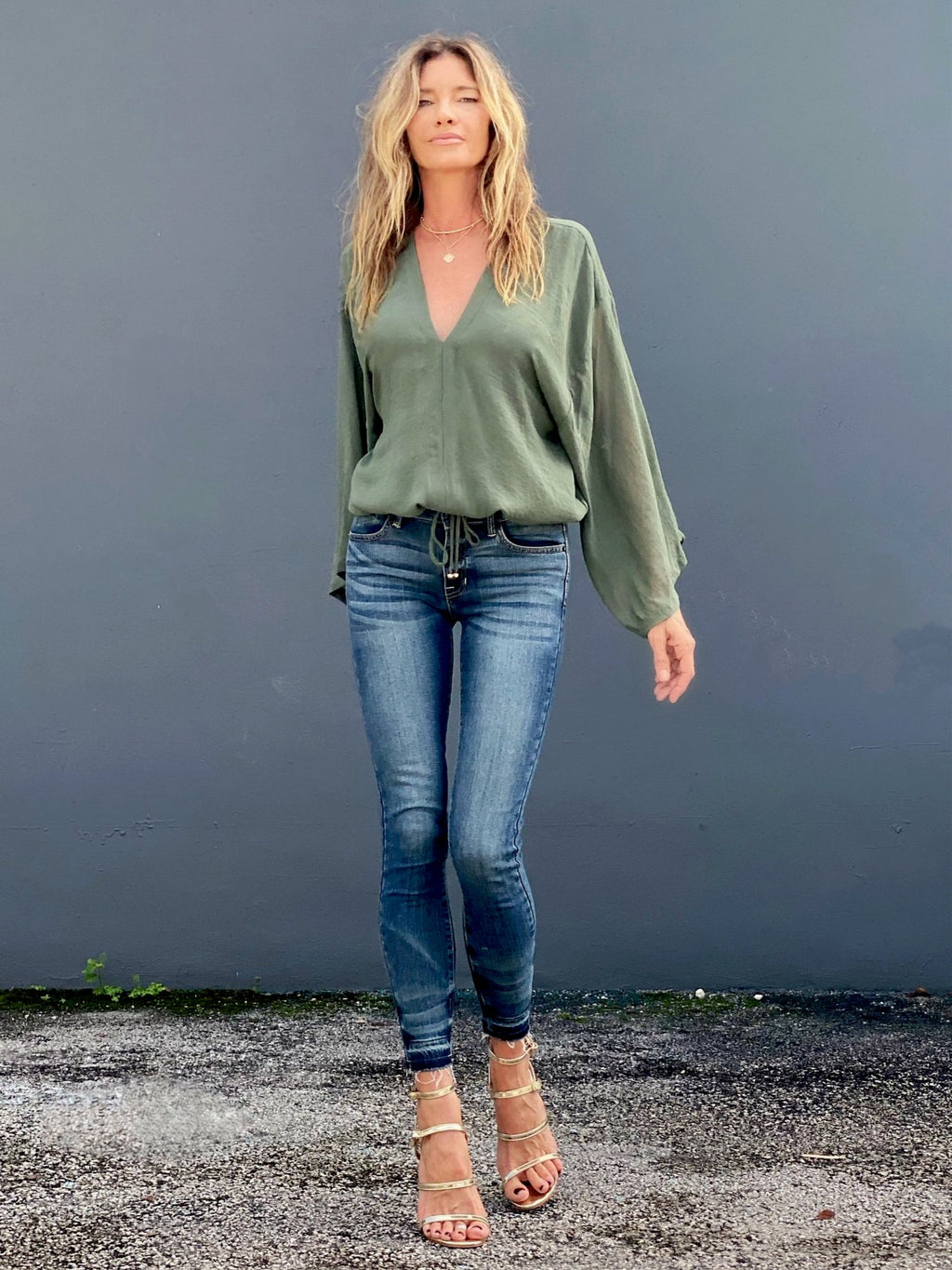 Bardot top moss green