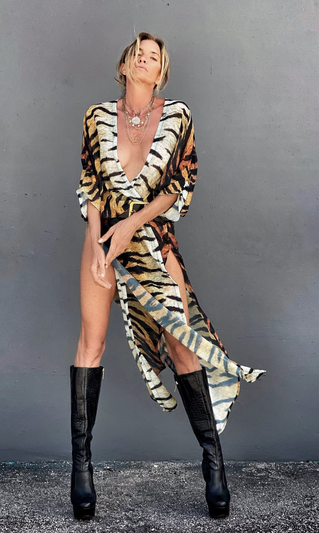 Erte Kaftan Tiger Stripes - OS / Tiger stripe / 100% Chiffon