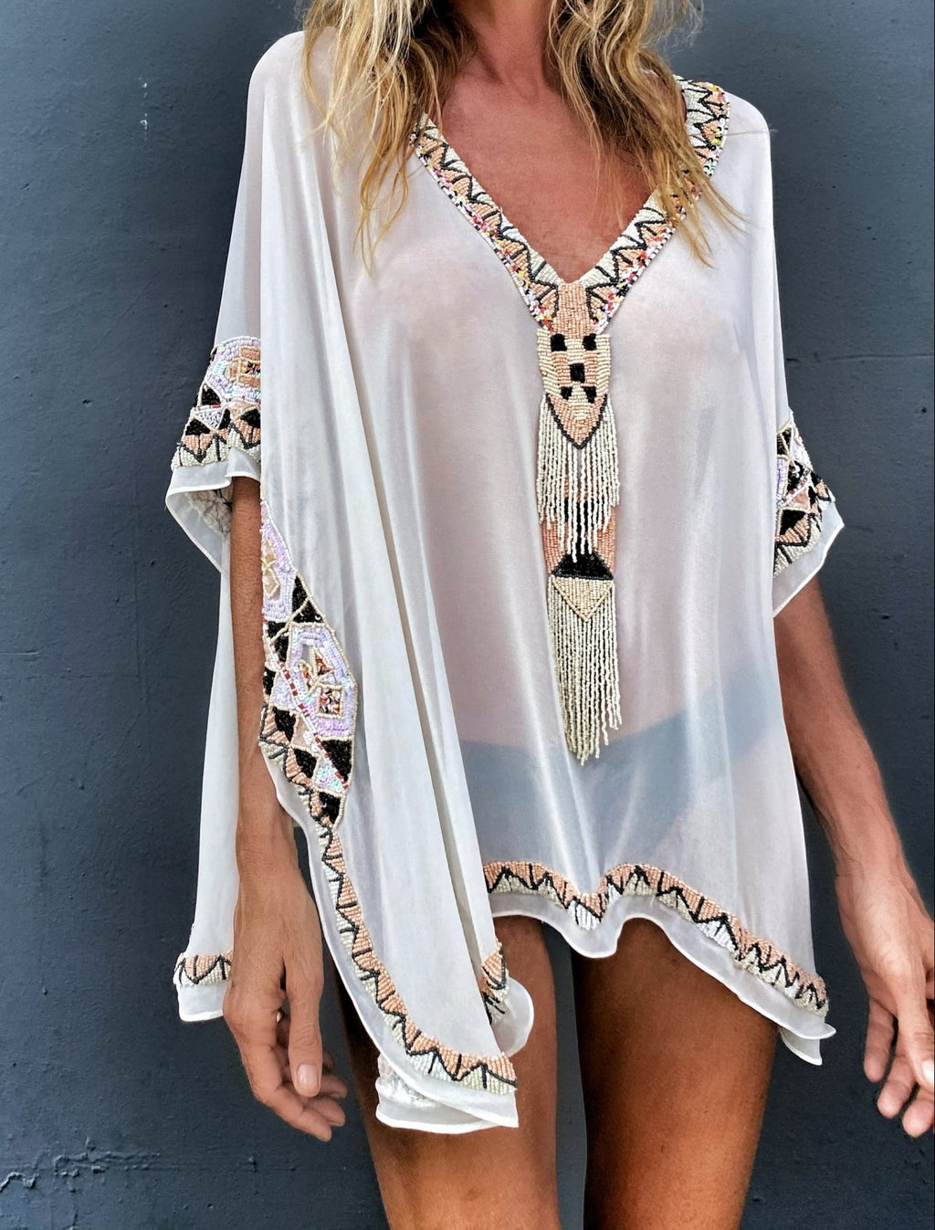 Iris beaded poncho solid