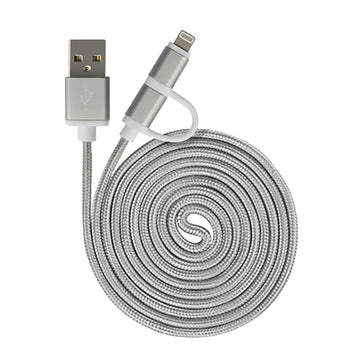 2in1 Fast Charging Cable Micro USB and Lightning QY-04 - by Raz Tech