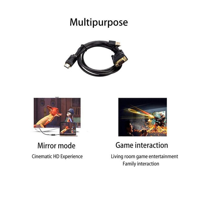 HDMI Male to VGA Male 3.5mm Female Audio Converter 1080P 60Hz Adapter Cable