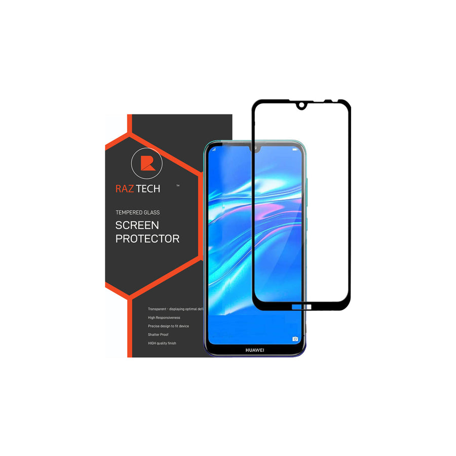 Raz Tech Full Cover Tempered Glass for Huawei Y7/Y7 PRO/Y7 PRIME 2019 - Black