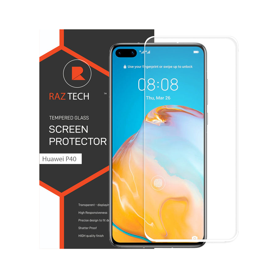 Raz Tech Full Cover Tempered Glass for Huawei P40 ANA-AN00 - White