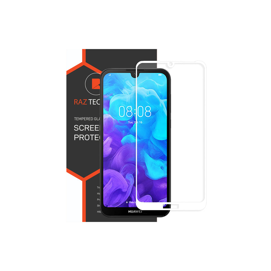 Raz Tech Full Cover Tempered Glass for Huawei Y5 (2019) AMN-LX9 - White