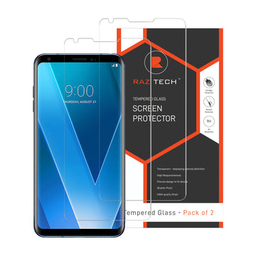 Raz Tech Tempered Glass Screen Protector LG V30 Plus H930 DS (Pack of 2)