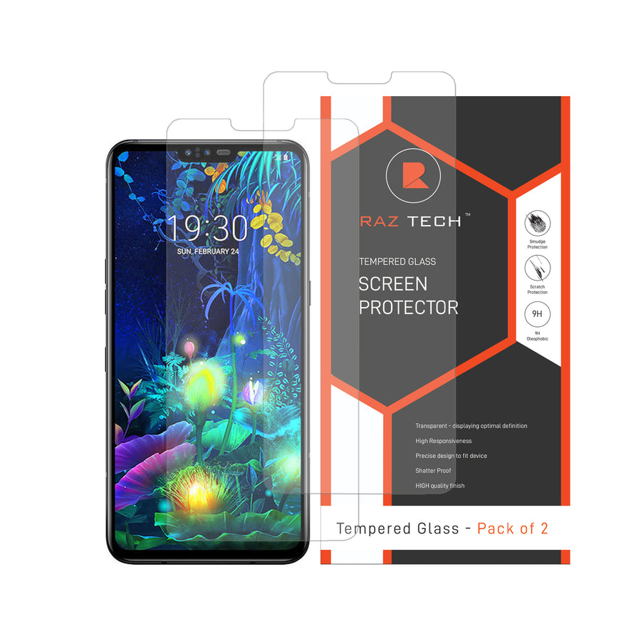 Raz Tech Tempered Glass Screen Protector LG V50 ThinQ 5G LM-V500EM (Pack of 2)