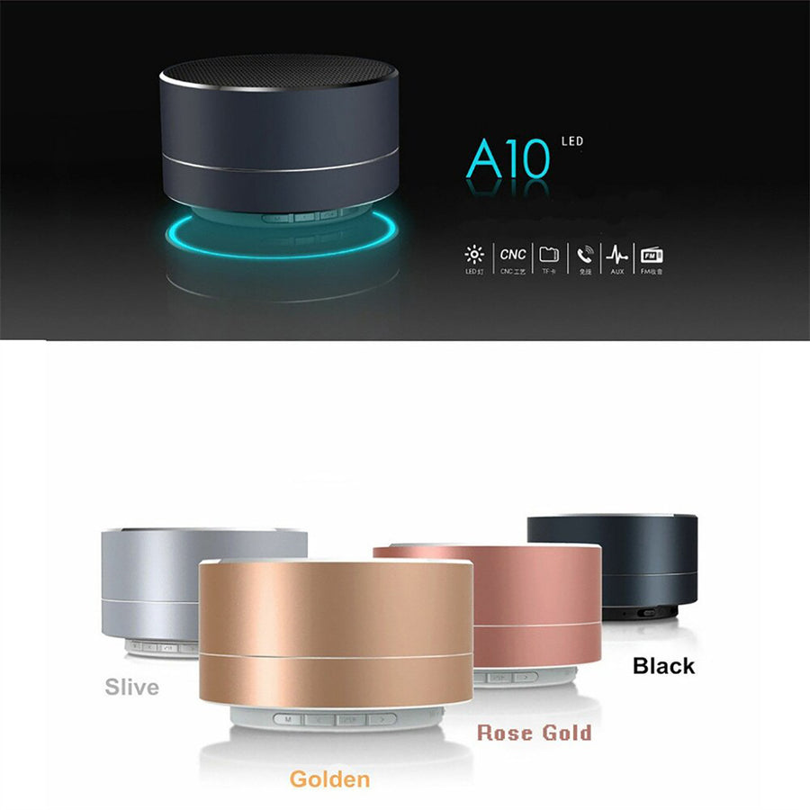 Mini Portable A10 Wireless Bluetooth Speaker Stereo Music Loudspeaker - Gold