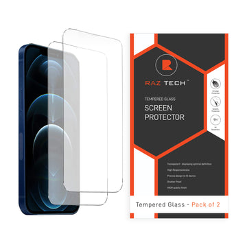 Raz Tech Tempered Glass for Apple iPhone 12 Pro Max (A2411) (Pack of 2)