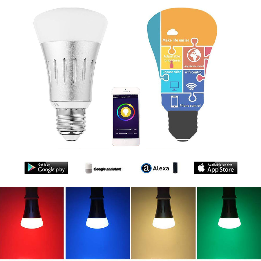 WiFi Smart Light Bulb Multicolor Color Changing Smartphone x 2 (Pack of 2)