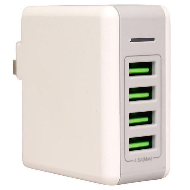 Raz Tech Smartphone Travel  Adapter with 4 USB Ports and 4.8 amp Power - White