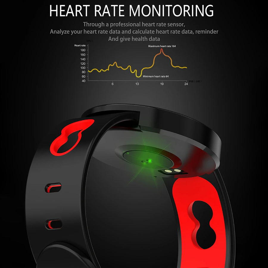 Smart Watch Heart Rate Monitor Tracker Fitness Watch Z8 - Black & red