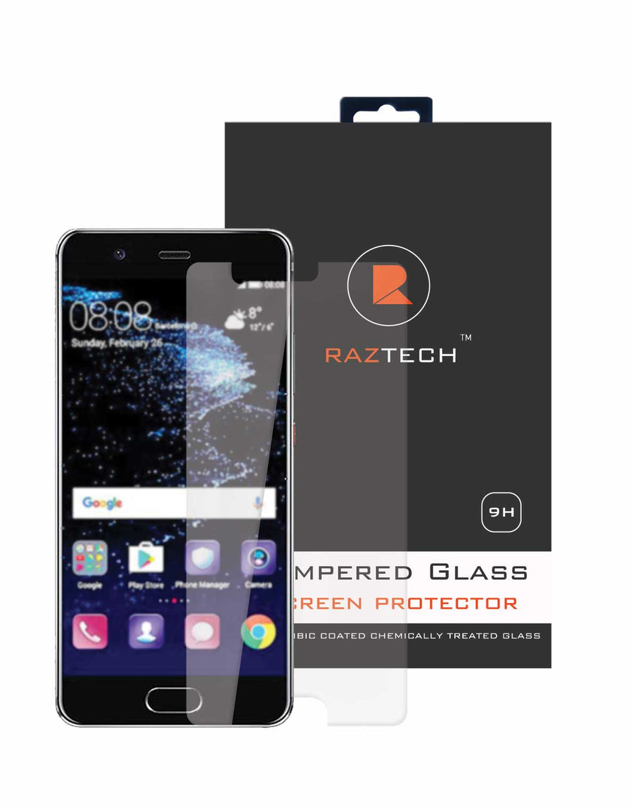 Tempered Glass Screen Protector for Huawei P10 - Curved, Extra Strength Glass - by Raz Tech