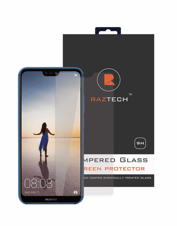 Tempered Glass Screen Protector for Huawei P20 Lite - Curved, Extra Strength Glass - by Raz Tech