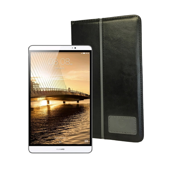 Raz Tech Leather Tablet Cases for Huawei MediaPad M2 + Tempered Glass Screen Protector - Black