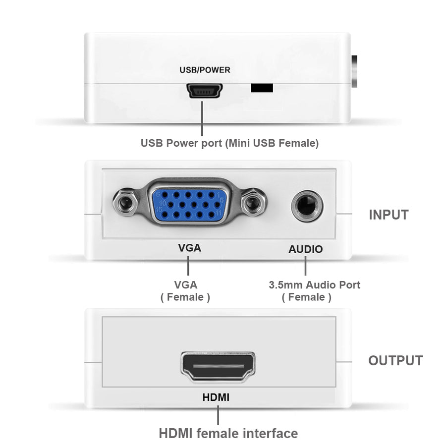 VGA to HDMI 1080p Video Converter