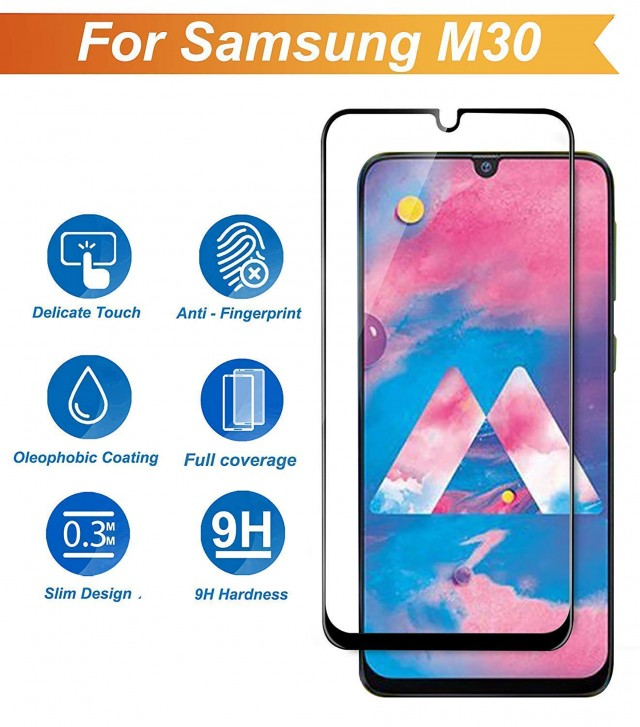 Raz Tech Full Cover Tempered Glass for Samsung Galaxy M30 SM-M305F