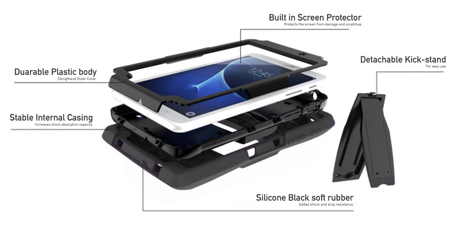 Rugged Stand Protective Case with Stand and Built in Screen Protector for Samsung Galaxy Tab A 8