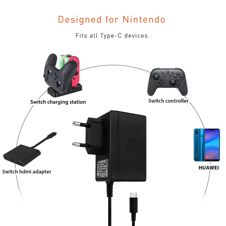 Travel Wall AC Adapter Cable for Nintendo Switch - by Raz Tech