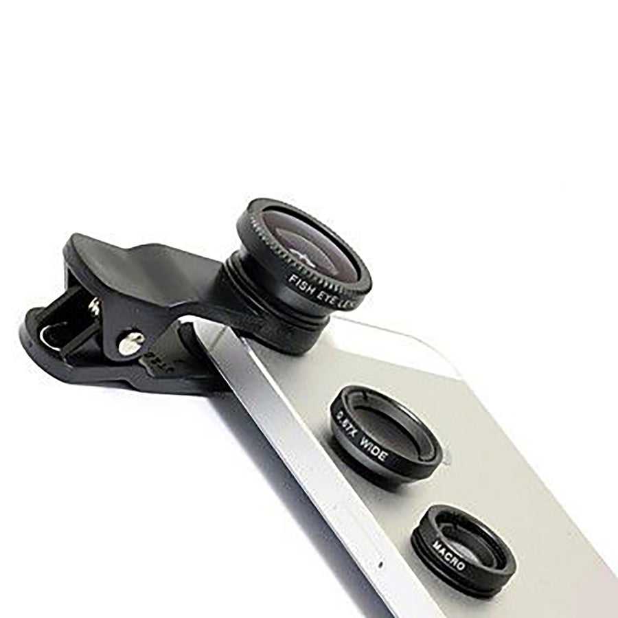 3-in-1 Smartphones, tablets Camera Lens Kit with Clip - Wide Angle, Fisheye & Macro Lenses