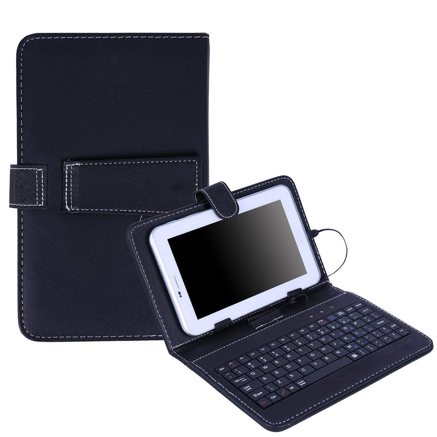 Universal Leather Keyboard Case for 10 inch Tablets - Black