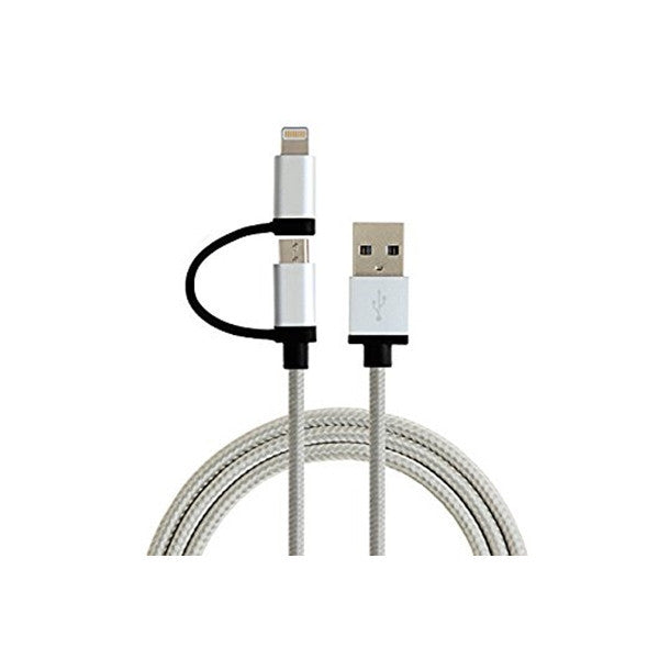 Roll Up Micro USB and Apple iPhone Lightening Cable - White & Grey 1.5m - by Raz Tech