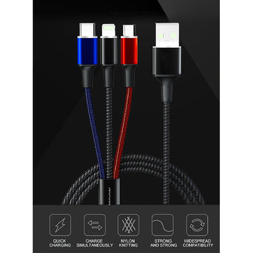 iPhone Lightning Type-C Micro 2A colorful three-in-one fast transfer charging cable